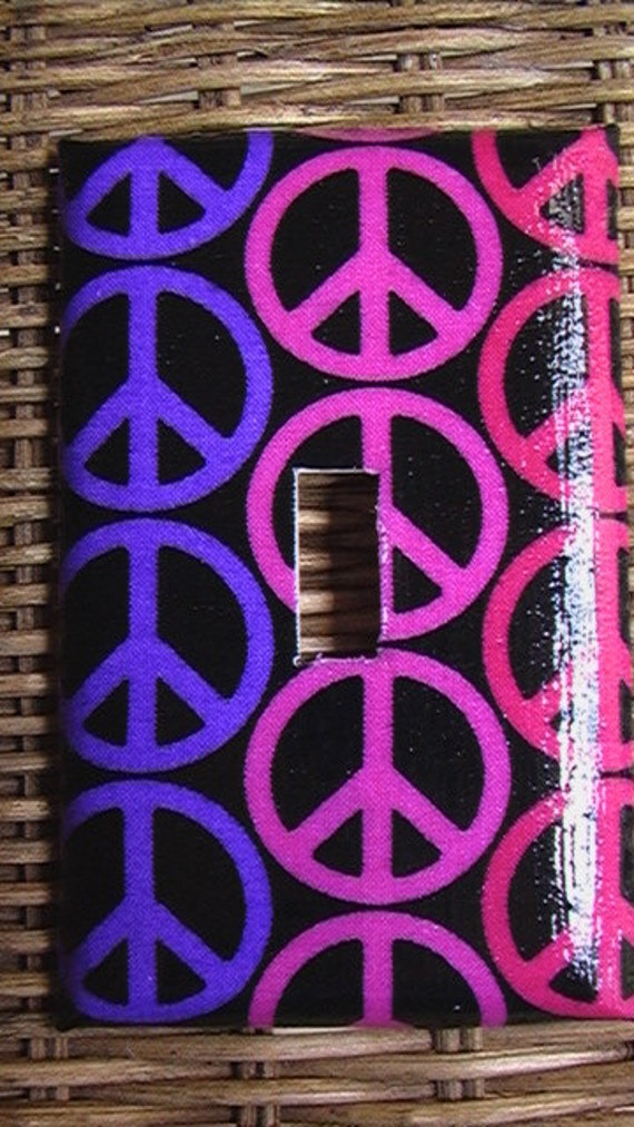 Pink and Purple plus Peace Sign Single Toggle Light Switch Plate Cover