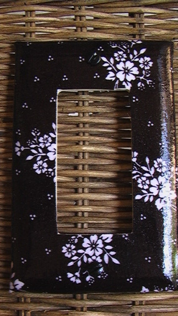 Floral Print White on Black Single GFI Cover Switch rocker plate