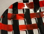 Fused Glass Bowl, Basket Weave, Lattice, Woven - Red and Black