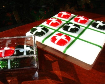 Tic Tac Toe, Fused Glass, Christmas Decor, Board Game, Family Game, Family Gift