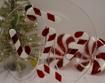 Candy Cane Fused Glass Christmas Plate - Dessert / Dinner