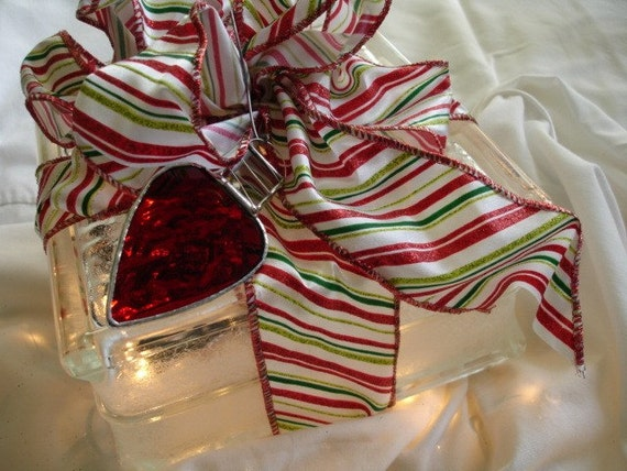 Stained Glass Christmas Light Ornament - Red