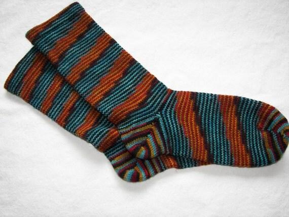 Spiraling Stripes Superwash Wool Diabetic Socks, W 8-9, M 6-7 shoe size NEW LOWER PRICE
