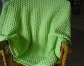 Pastel Green Pleated Herringbone Baby Blanket