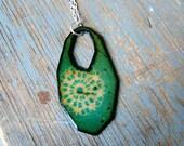 Bohemian Fragment Enamel Pendant - Turquoise and Flux