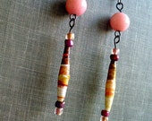 Romantic Dangly Earrings - Upcycled/Recycled Ephemera Handmade Paper Beads