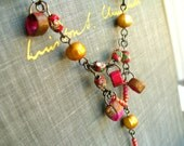 Asian Influences Necklace - Handmade Paper Beads, Cloisonne, Freshwater Pearls