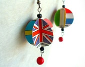World Flags Paper Bead Earrings - Northern Europe - Upcycled Colorful Book Page Spheres