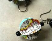 Reserved Custom Order - Wales Map Paper Bead Earrings