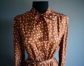 reserved for sandmannchen- 60s copper POLKA DOT Ascot Tie Fall dress (s-m)