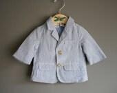 vintage baby boy seersucker yacht jacket 0-3 months