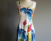 vintage 80s HAWAIIAN island floral print CORSET back dress (m)