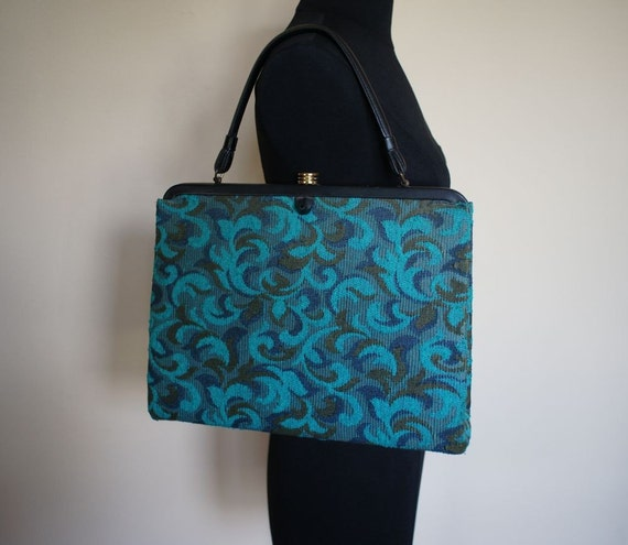 60s Aqua Tapestry Soure Large Bag