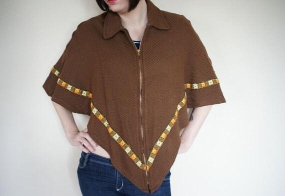 vintage 70s knit Cape Poncho (s-m)