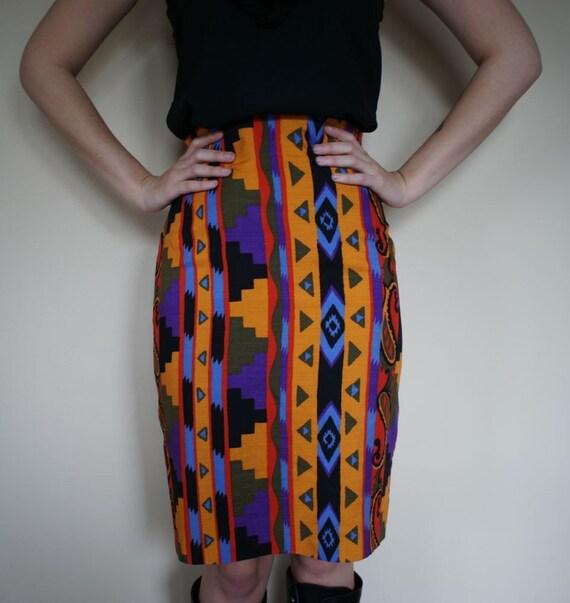 vintage Southwestern bold print 80s high waisted skirt (m)