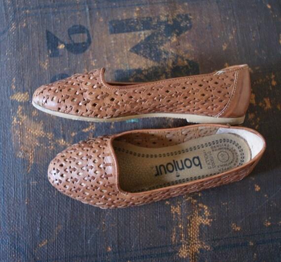 vintage bonjour spring woven leather loafer 6.5