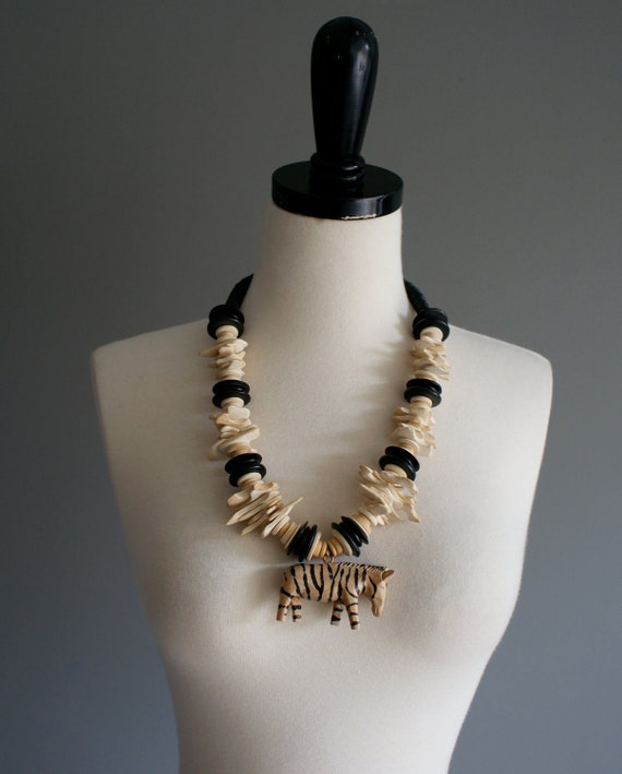 vintage 80s zebra wooden cookie chunky necklace