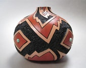 Southwest, pueblo, pottery, native american, painted gourd,earthtones,turquiose,carved,