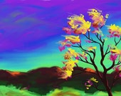 Magic Tree, ACEO digital painting print, 2.5 x 3.5