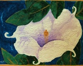 Jimson - Flower Painting, Datura, Flower, Original, ACEO, Acrylic, Southwest