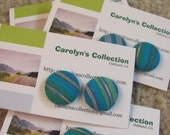 One Pair of Fabric Covered Button Earings