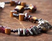 Praying Buddha Necklace with Pewter Buddha Pendant, Garnet, and Glass Beads