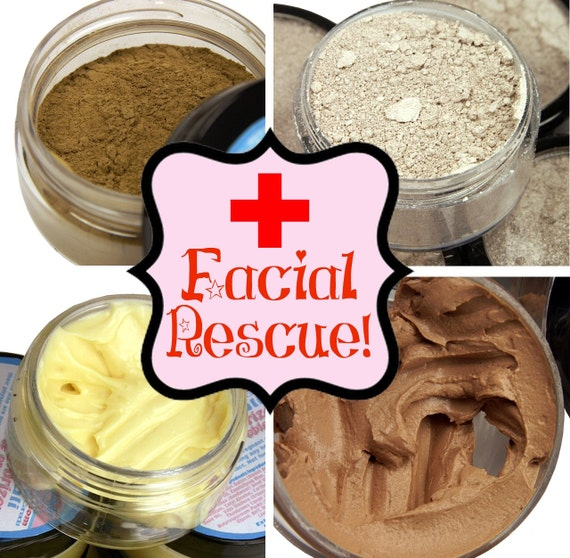 Facial Resuce Kit for Acne Prone Skin- Patchouli Cream, Primer, Clay Mask, Mineral Makeup Concealer