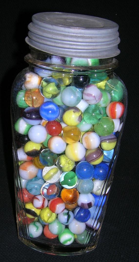 Vintage Marbles In Vintage Jar