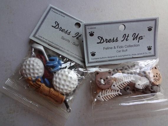 Dress It Up Novelty Buttons  NIP  Golf and Cat Stuff