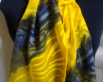 Hand painted Silk Scarf. Silk and velvet scarf Art Nouveau design