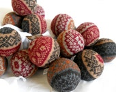 Wool Dryer Balls, Set of 3 in FAIR ISLE GINGER from Repurposed Holiday Sweaters