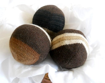 Wool Dryer Balls in Chocolate Hazelnut, Set of 3 from Recycled Sweaters