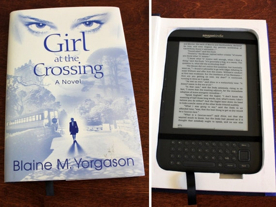 Kindle 3 Case, recycled hardcover book - Girl at the Crossing (MARKED DOWN 20% OFF original price)