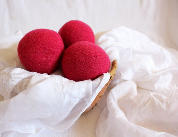 Wool Dryer Balls, Raspberry Pink, Set of 3 from Repurposed Holiday Sweaters