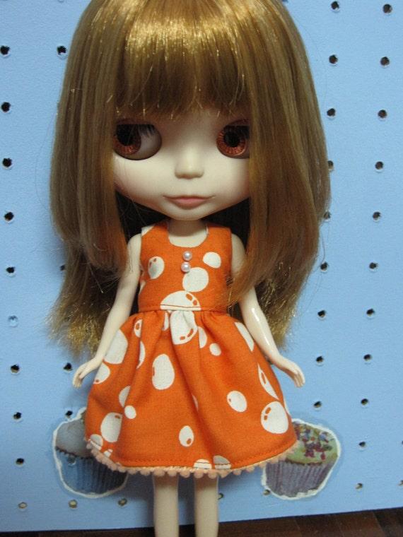 Orange Balloons Dress for Blythe doll