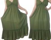 SALE 30% off - Green Long maxi Dress L to 2XL