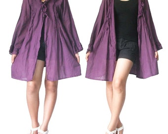 Sale- Purple Cotton Short Dress or Robe XL to 2X