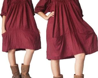 Burgundy Cotton Short Dress XL to 3X