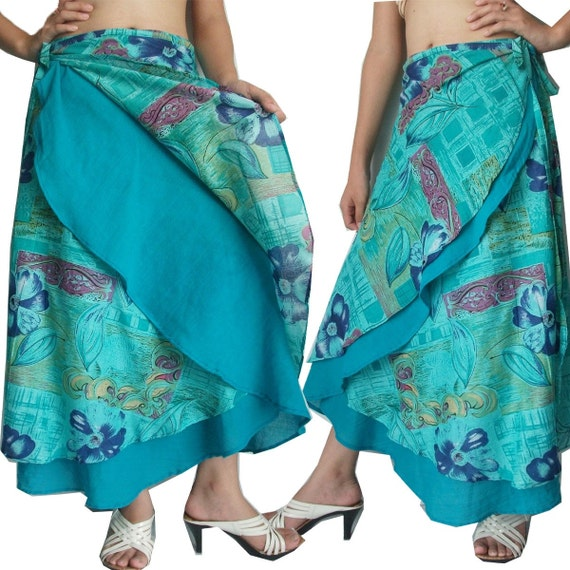 Flower on Turquoise and Turquoise Blue 2 Layers Long Wrap Skirt Size S-2XL