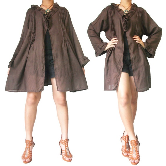 SALE 30% off - Brown Cotton Short Dress or Robe XL to 2X