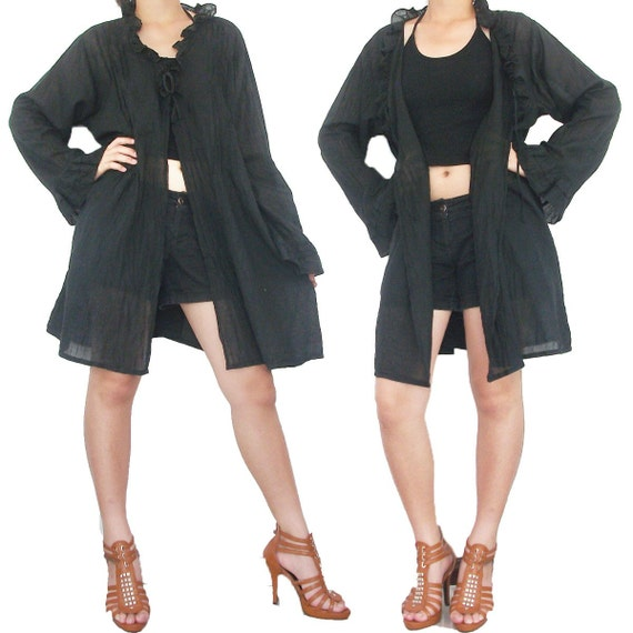 SALE 30% off -Black Cotton Short Dress or Robe XL to 3X