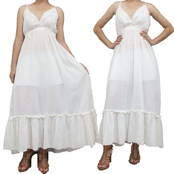 SALE 30% off - Ivory Long maxi Dress L to 2XL