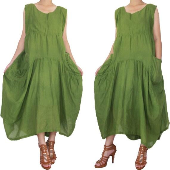 Balloon Green Long Dress