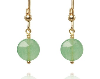 Aventurine gold earrings. 14K Gold filled earrings with faceted Aventurine cushions.