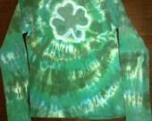 Ladies FITTED Shamrock Tie Dye Tshirt Happy St Patty's Day