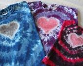 KIDS SHORT SLEEVED Heart Tie Dye Custom Colors - Great for Valentine's Day
