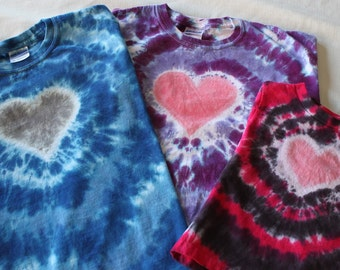 KIDS SHORT SLEEVED Heart Tie Dye Custom Colors - Great for Valentine's Day