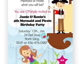 Mermaid and Pirate Birthday invitation, Mermaid Pirate Invitation, Under The Sea Invitation
