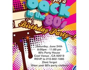 80er Jahre 70er Jahre Party Einladungen, Retro Einladungen, 80er Jahre  Thema,