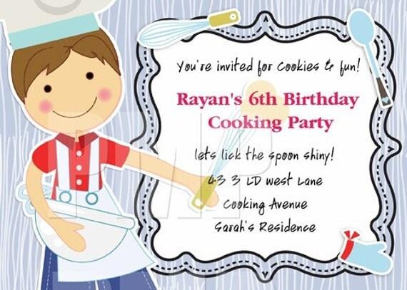 Baking Birthday Party invitationCooking Theme Birthday Party – Cooking Birthday Party Invitations